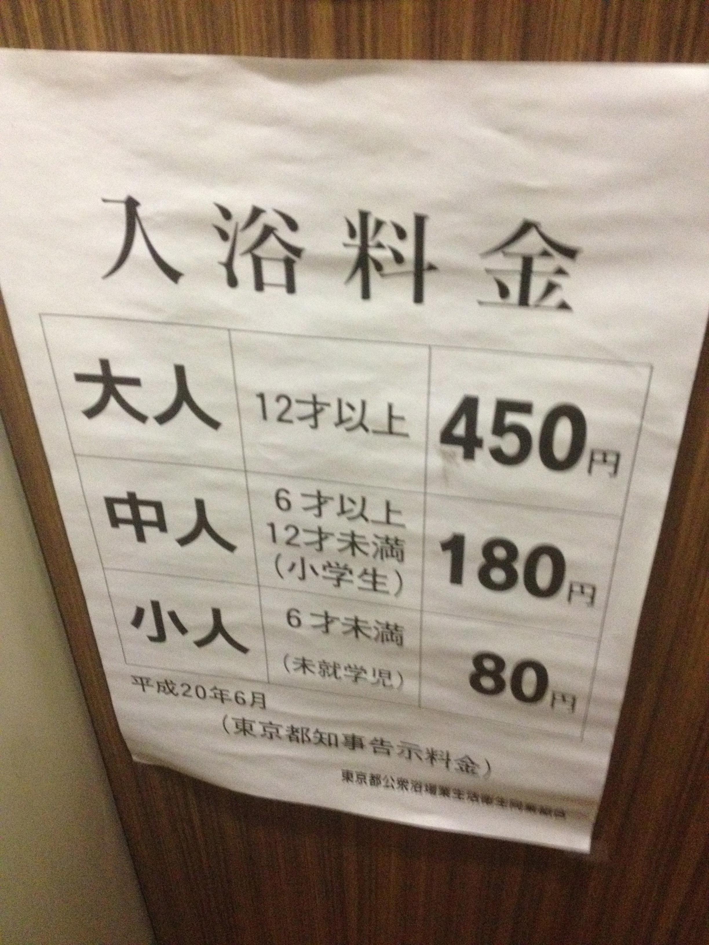 銀座湯の料金は大人450円なり