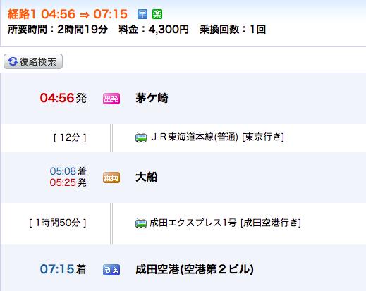 成田空港に6:30は始発にのっても無理