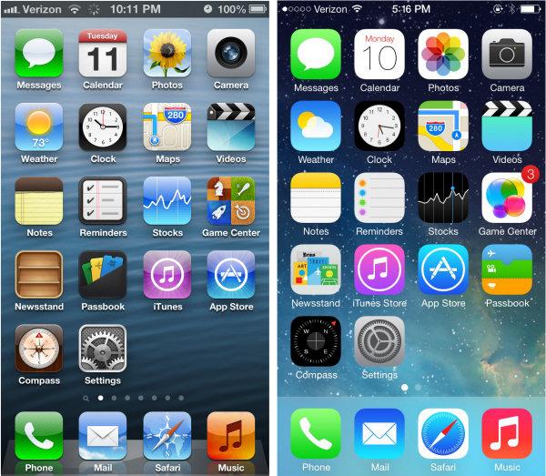 左が皆さんお使いのiOS 5,6のデザインで右がiOS7(フラットデザイン)